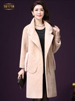 Áo khoác nhung TA1718 mới 2017 túi lông khóa kéo trước (Màu kem)