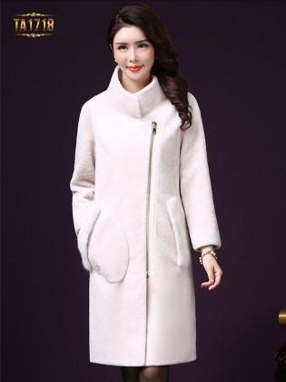 Áo khoác nhung TA1718 mới 2017 túi lông khóa kéo trước (Màu trắng)