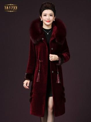 Áo khoác nhung TA1733 cổ lông đai rút eo 2017 (Màu đỏ)