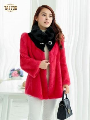 Áo khoác lông TA1736 dáng ngắn phối màu đính đá 2017 (Màu hồng)