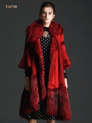 Áo khoác lông thú TA1740 tự nhiên Bắc Mỹ cao cấp thiết kế mới 2019 (Màu đỏ)