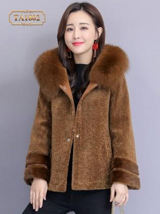 [New 2020]Áo lông thú TA1802 dáng ngắn thời trang mẫu mới (Màu nâu)