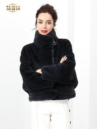 Áo khoác lông thật TA1814 dáng ngắn khóa lệch mẫu giới hạn