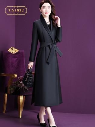Áo khoác kaki  đen dáng dài cổ vest đai nơ thanh lịch TA1822