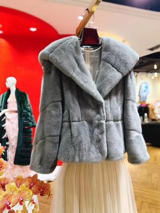 Áo khoác lông tự nhiên cổ vest có mũ thời trang