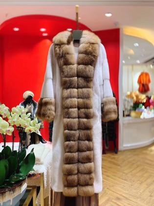 Áo khoác lông  tự nhiên  thiết kế dáng dài thời thượng