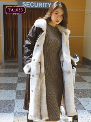 Áo khoác lông phối da dáng dài mặc được 2 mặt thời thượng TA1833