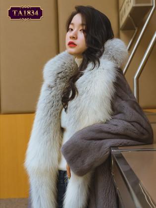 Áo khoác lông nhung cổ to bản dáng ngắn thời trang TA1834
