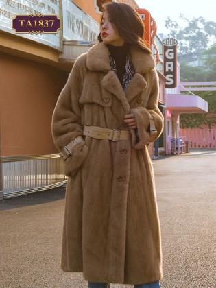 Áo khoác lông đen phong cách dáng dài TA1837