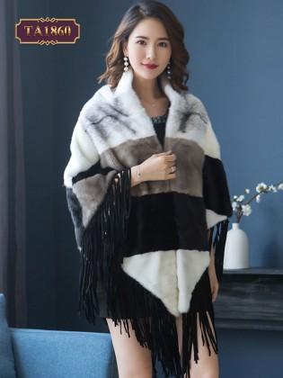 Áo choàng lông cao cấp kẻ ô khóa trước thân dưới tuarua lạ mắt TA1860