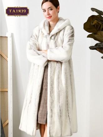 Áo khoác lông vằn dáng dài có mũ kèm tag cài sang trọng TA1839