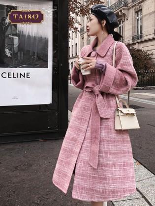 Áo khoác dạ dáng dài kẻ hồng thời trang TA1842