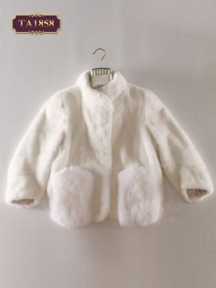 Áo khoác lông thú dáng ngắn tay lỡ 2 túi thời trang TA1858