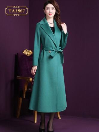 Áo dạ xanh dáng dài cổ vest 2 cúc sang trọng TA1867