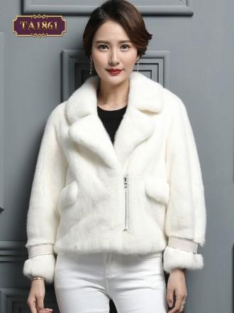 Áo khoác lông dáng ngắn túi khóa tay đai da thời trang TA1861