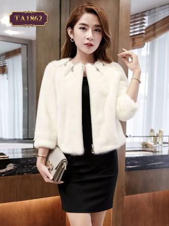 Áo khoác lông dáng ngắn cao cấp cổ kéo khóa thời trang TA1862