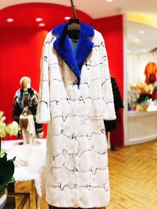 Áo khoác lông tự nhiên dáng dài cổ vest cao cấp