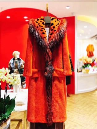 Áo khoác lông tự nhiên cổ họa tiết da báo thời trang A3