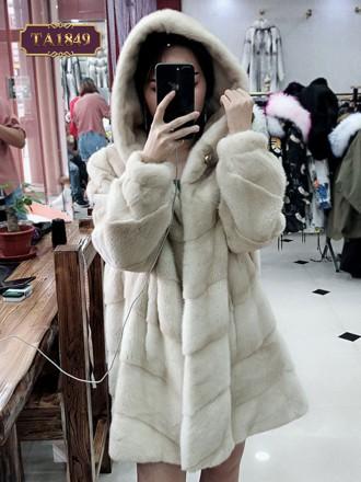 Áo khoác lông thân xếp ly có mũ TA1849