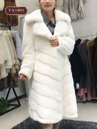 Áo khoác lông dáng dài cổ vest thân xếp ly thời trang TA1851