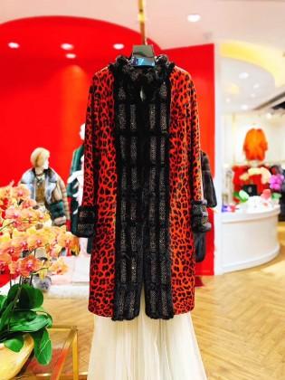 Áo khoác lông tự nhiên dáng dài họa tiết da báo thời thượng A19