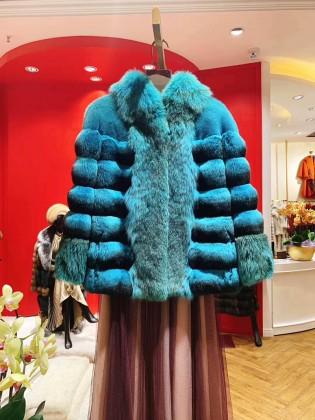 Áo khoác lông tự nhiên dáng ngắn thiết kế sành điệu A5