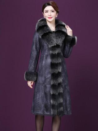 Áo khoác da dáng dài  phối lông tự nhiên cao cấp A4