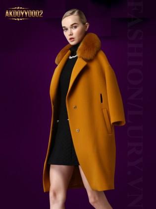 Áo khoác dạ cổ đính lông chồn AKDOYY0002