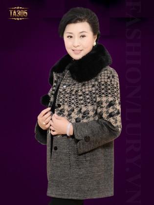Khoác dạ trung niên cao cấp thân áo phối họa tiết ziczac TA305